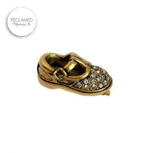 VINTAGE Baby Shoe Pin Brooch Gold w/ Rhinestones